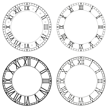Clock face. Blank white clock with roman numerals on black background. Collection