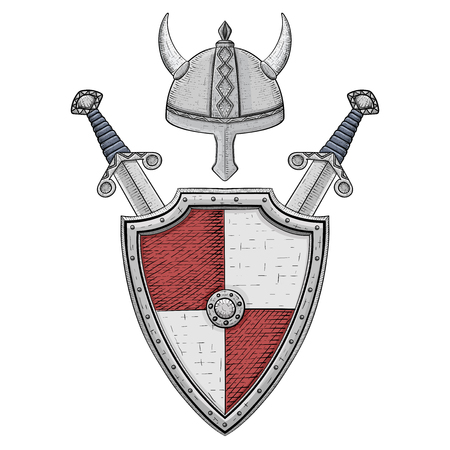 Medieval shield with swords and horned helmet. Gray and red armor. Hand drawn sketch Çizim