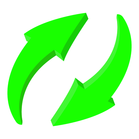 Arrows. Green recycle 3d icons. Vector illustration isolated on white background.