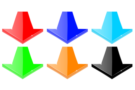 Set of colored down arrows. Vector 3d illustration. Illustration