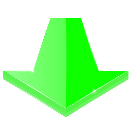 Arrow Down. Green shiny 3d icon. Vector illustration isolated on white background.