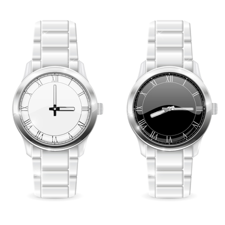 Men wrist watches with metal bracelet. Clockface with roman numerals
