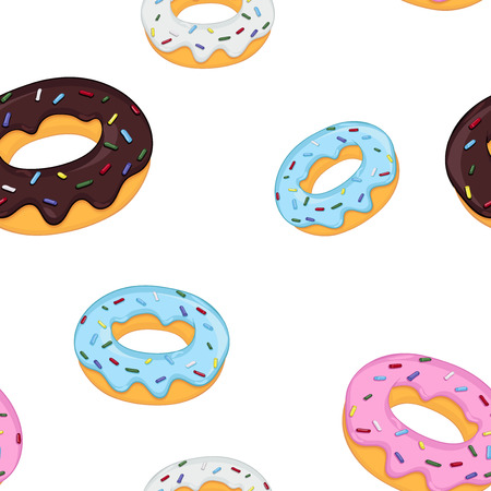 Donuts Seamless pattern. Vector illustration isolated on white background