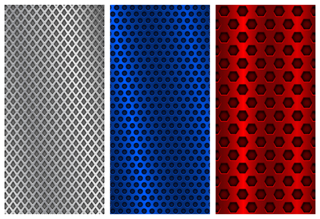 blue red and silver metal perforated backgrounds brochure design