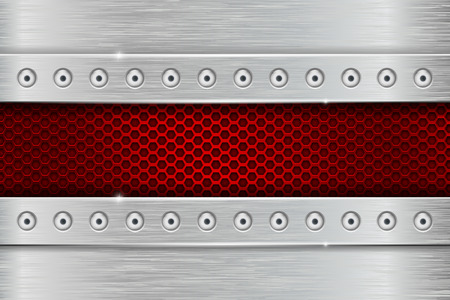Metal texture with brushed iron plate with rivets and red perforation Illustration
