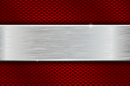 Iron brushed metal texture on red perforated background