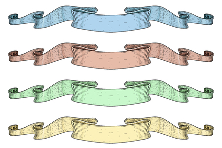 Ribbon banners. Colored sketch Иллюстрация