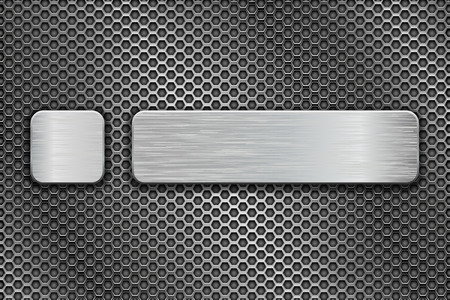 Silvered glass buttons on metal perforated background