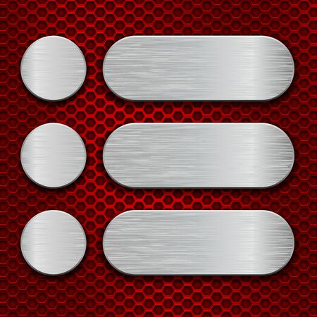 Metal brushed plates on red perforated background