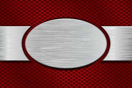 Metal brushed oval plate on red perforated background