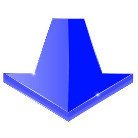 Arrow down shiny blue icon Çizim