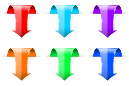 Colored DOWN arrows. 3d shiny icons