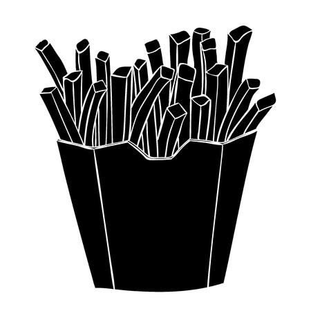Patatine fritte in un bicchiere di carta. Disegno silhouette nera Vettoriali