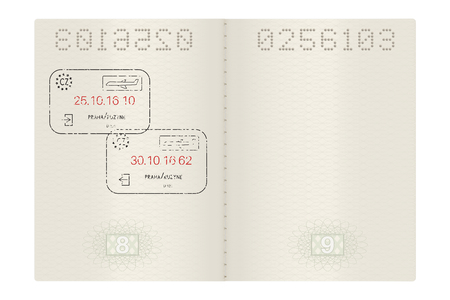 Open passport with Prague, Czech Republic stamps 向量圖像