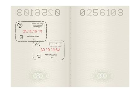 Open passport with Prague, Czech Republic stamps Illustration