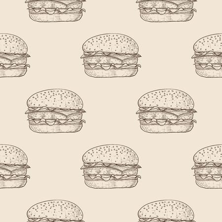 Hamburger Seamless pattern. Hand drawn sketch on beige background
