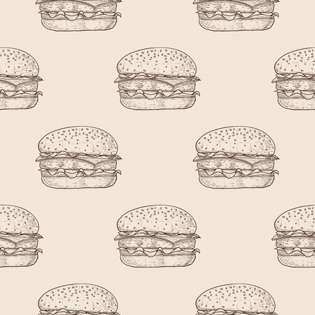 Hamburger Seamless pattern. Hand drawn sketch on beige background