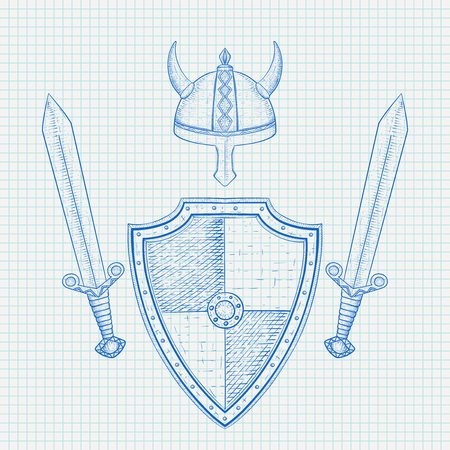 Viking armor set. Hand drawn sketch on lined paper background