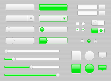 White web interface buttons, slider and icons with green tags Иллюстрация