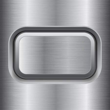 Square button. Metal brushed texture Illustration