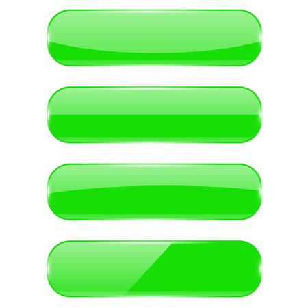 Green glass buttons. Oval icons with reflection.