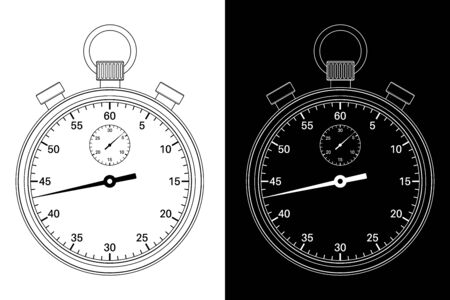 Stop watch. Black and white drawing