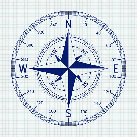 Compass Blueprint Vector illustration. Vectores