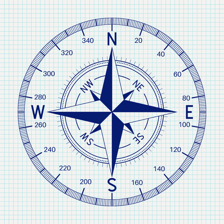 Compass Blueprint Vector illustration. Vettoriali