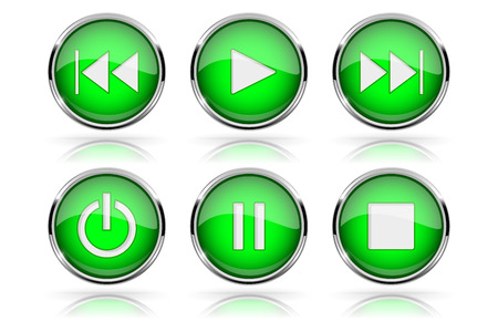 Media buttons. Green round glass buttons with chrome frame