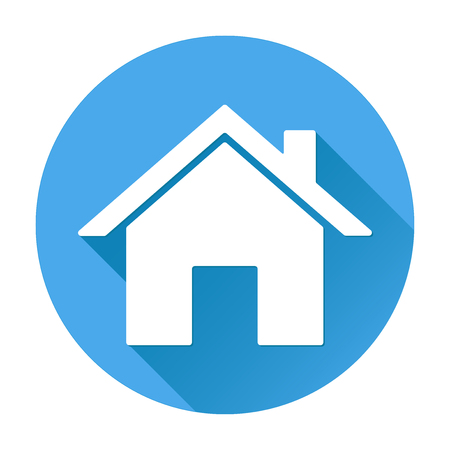 Home icon white silhouette on blue round background
