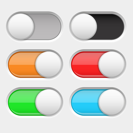On and Off long oval icons. Gray and colored switch interface buttons