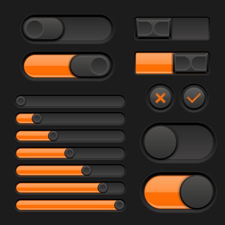 Set of black and orange interface buttons, sliders illustration