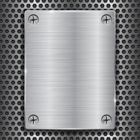 Metal plate with screws on perforated texture