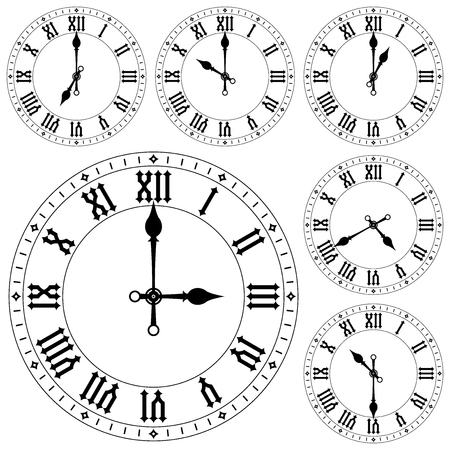 Clock with roman numerals. Set  Vector illustration isolated on white background