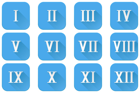 Roman numerals  Blue icons with white numbers. Vector illustration