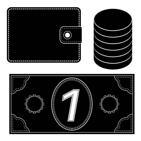 Financial icons. Wallet, coins, money. Black silhouettes. Vector illustration isolated on white background