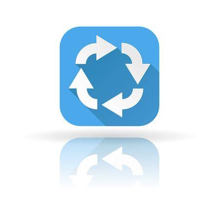 Arrows icon. Blue sign with shadow and reflection. Circular motion. Vector illustration Illusztráció