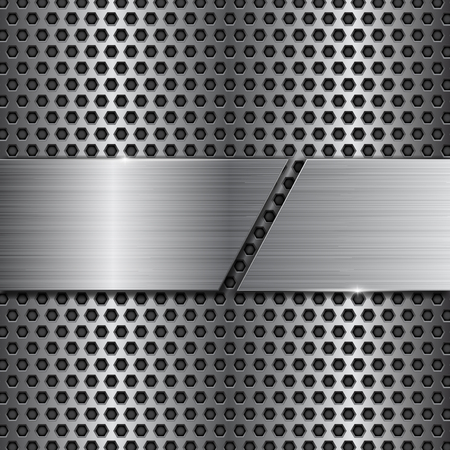 Metal perforated background with cut brushed metallic plate Çizim