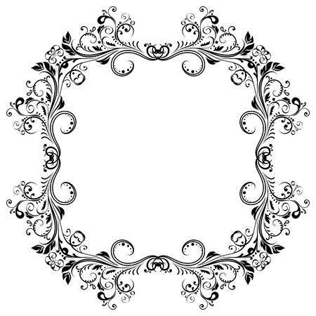 Floral decorative frame. Black ornament illustration. Vettoriali