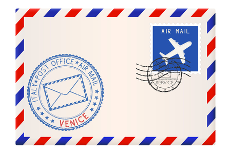 Envelope with VENICE stamp. International mail postage with postmark and stamps.
