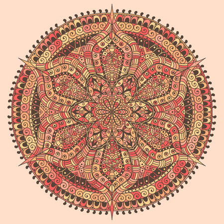 Mandala colored red and yellow decoration. Oriental decorative flower pattern. Illustration