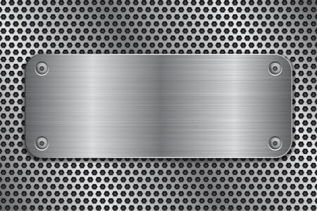 Placa de metal con tornillos en textura perforada Ilustración de vector