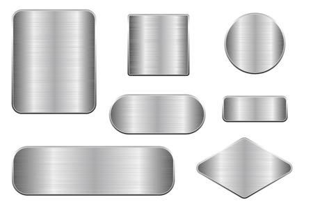 Brushed metal plates on Set of geometric shape plaques