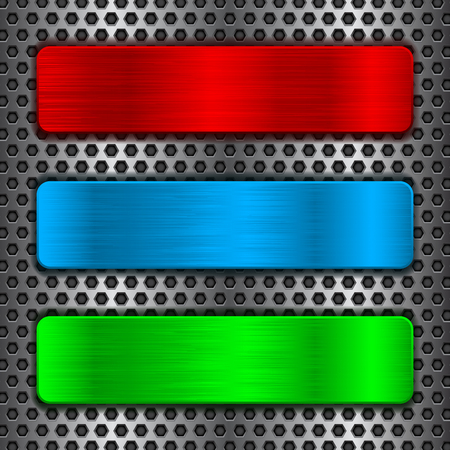 Colored metal plates on perforated background Illustration