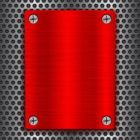 Red metal brushed plate with screws on perforated texture Illustration