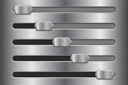 Metal interface slider buttons on realistic presentation. Ilustração
