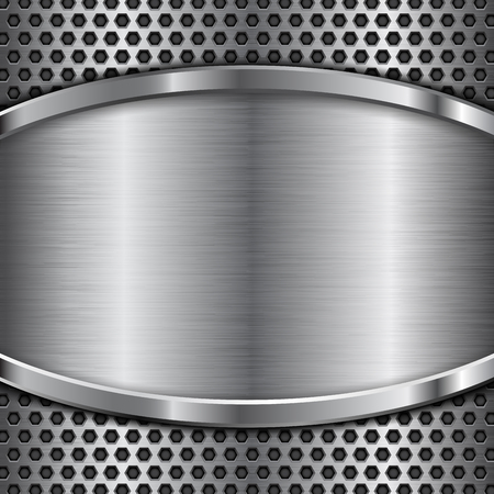 Metal perforated background with stainless steel element.