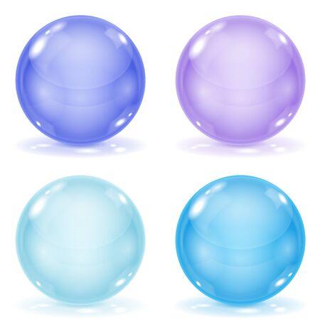 Set of blue 3d shiny sheers isolated on white background Illustration