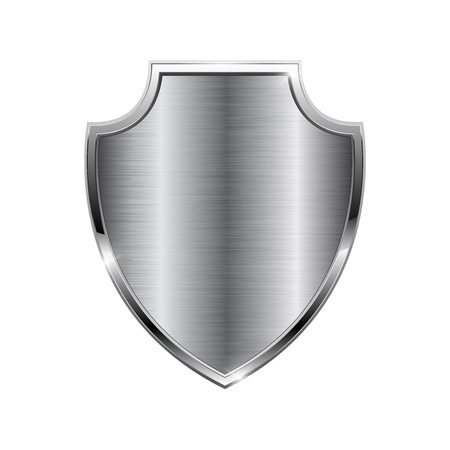 Metal 3d shield isolated on plain background.
