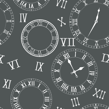 Time seamless pattern with clocks in roman numerals Vector illustration.